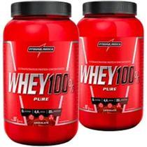 Kit 2 Whey 100% Pure Pouch 907g Integralmédica Sabor Morango + Baunilha -