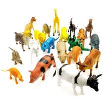 Kit 20 Animais Miniatura Fazenda Dino Safári Brinquedo em Borracha - Barcelona