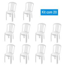 Kit 20 Cadeiras de Plástico Bistrô Brancas - Central De Embalagens