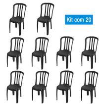 Kit 20 Cadeiras de Plástico Bistrô Pretas - Central De Embalagens