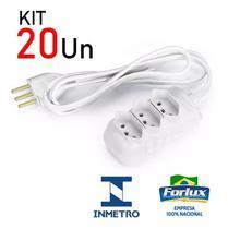 Kit 20 Extensão Elétrica Branca Tripolar 3 Tomadas 3 Metros Bivolt 10A - Forlux