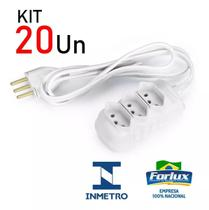 Kit 20 Extensão Elétrica Branco Tripolar com 3 Tomadas 5 Metros Bivolt 10A 0653 - Forlux