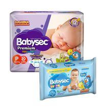 Kit 20 Fraldas Babysec Premium P + 92 Lenços Umedecidos - Softys