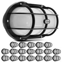 Kit 20 Luminárias Arandela Tartaruga LED 12W 3000K Branco Quente Teto Externa Parede Bivolt Preta - Iluctron