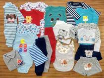 Kit 20 Pçs Body Macacão Calça Bebê Recém Nascido Meninos - Baby Bird