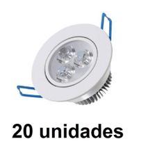 Kit 20 pecas - spot led 3w redondo direcionavel branco frio - Powerxl