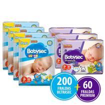 Kit 200 Fraldas Babysec Ultrasec P + 60 Fraldas Babysec Premium P -