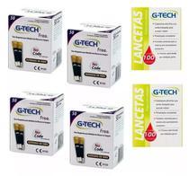 Kit 200 Tiras Fitas Glicemia G-tech Free + 200 Lancetas -