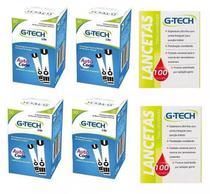 Kit 200 Tiras Fitas Glicemia G-tech Lite + 200 Lancetas -