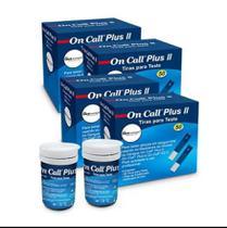 Kit 200 Tiras Medir Glicose On Call Plus Ii Chip Codificador -