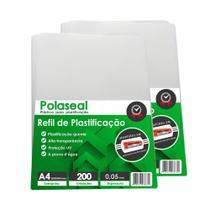 Kit 200un Polaseal A4 0,05mm Plástico para  Plastificação - Marpax