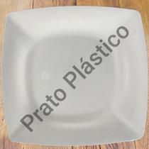 Kit 24 Pratos Quadrados em Plástico Rígido para Lanche Festa Buffet 24x24cm Cor Branca - Nacional
