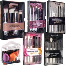 Kit 27 pincéis e esponjas de maquiagem Macrilan Pro Kabuki face olhos delinear precisão iluminar -