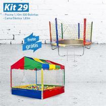 KIT 29 - Piscina 1,10m com 500 Bolinhas + Cama Elástica 1,83m - LACUCA BRINQUEDOS