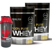 Kit 2X 100% Pure Whey - 825g Refil Baunilha - Probiotica + Coqueteleira - OtimaNutri - Probiótica