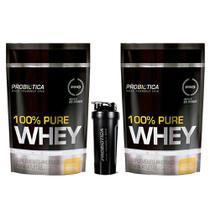 Kit 2x 100% Pure Whey Refil 825g + Coqueteleira Probiótica -