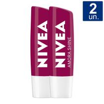 Kit 2X 4,8g Hidratante Labial Nivea Amora Shine -