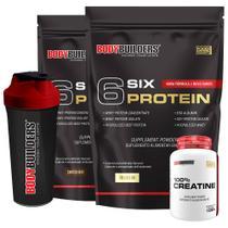 Kit 2x 6 Six Protein 2kg (1 Chocolate + 1 Baunilha) + 100% Creatine 100g + Coqueteleira  Bodybuilders -