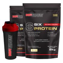 Kit 2x 6 Six Protein 2kg (1 Chocolate + 1 Baunilha) + Coqueteleira  Bodybuilders -