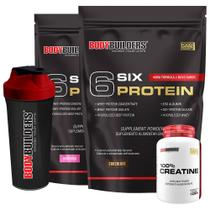 Kit 2x 6 Six Protein 2kg (1 Chocolate + 1 Morango) + 100% Creatine 100g + Coqueteleira  Bodybuilders -
