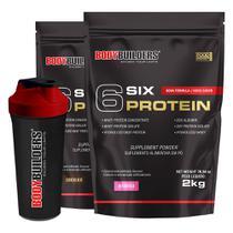 Kit 2x 6 Six Protein 2kg (1 Chocolate + 1 Morango) + Coqueteleira  Bodybuilders -