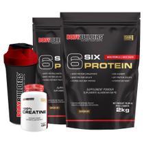 Kit 2x 6 Six Protein 2kg Chocolate + 100% Creatine 100g + Coqueteleira  Bodybuilders -