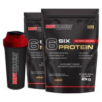 Kit 2x 6 Six Protein 2kg Chocolate + Coqueteleira  Bodybuilders -