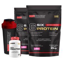 Kit 2x 6 Six Protein 2kg Morango + 100% Creatine 100g + Coqueteleira  Bodybuilders -