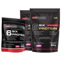 Kit 2x 6 Six Protein 2kg Morango + 1x 6 Six Protein 900g Morango  Bodybuilders -