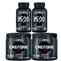 Kit 2x Bcaa 2400 (100 Tabs) + 2x Creatinas 150g Black Skull