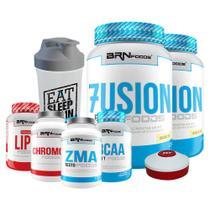 Kit 2x Fusion 900g Bau + BCAA + Chromo 100caps + ZMA 100caps + Lipo 120caps + Coqueteleira + Porta Caps  BRNFOODS - Br Nutrition Foods