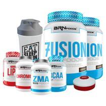Kit 2x Fusion 900g Cho + BCAA + Chromo + ZMA + Lipo+Coquet. +Porta Caps  BRNFOODS - BR NUTRITION FOODS