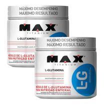 Kit 2x Glutamina 100% Pura Max Titanium 300gr Ganho Massa -