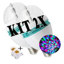 Kit 2x Lampada de LED Giratoria Iluminação Colorida RGB Balada Decoração Festa DJ - Infinity Imports