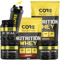 Kit 2x Nutrition Whey+ 2x BCAA + 2x Crea + 2x Gluta + Shaker - Core Nutrition