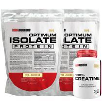 Kit 2x Optimum Isolate Whey Protein 2kg  Baunilha  + Creatina 100g - Bodybuilders -