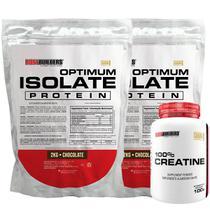Kit 2x Optimum Isolate Whey Protein 2kg  Chocolate  + Creatina 100g - Bodybuilders -