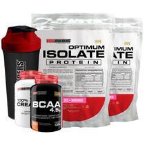 Kit 2x Optimum Isolate Whey Protein 2kg  Morango  + Creatina 100g  +  Bcaa 100g + Coqueteleira - Bodybuilders -