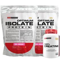 Kit 2x Optimum Isolate Whey Protein 2kg  Morango  + Creatina 100g - Bodybuilders -