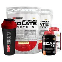 Kit 2x Optimum Isolate Whey Protein 900g  Baunilha  + Creatina 100g  +  Bcaa 100g +  Coqueteleira - Bodybuilders -