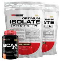 Kit 2x Optimum Isolate Whey Protein 900g  Chocolate  + Bcaa 100g - Bodybuilders -