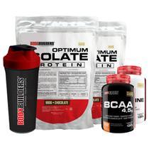 Kit 2x Optimum Isolate Whey Protein 900g  Chocolate  + Creatina 100g  +  Bcaa 100g +  Coqueteleira - Bodybuilders -