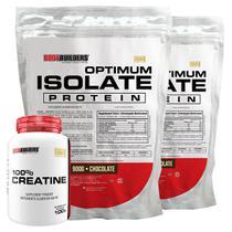 Kit 2x Optimum Isolate Whey Protein 900g  Chocolate +  Creatina 100g - Bodybuilders -