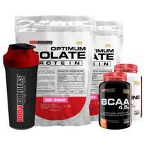 Kit 2x Optimum Isolate Whey Protein 900g  Morango  + Creatina 100g  +  Bcaa 100g +  Coqueteleira - Bodybuilders -