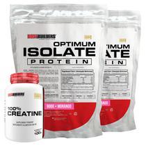 Kit 2x Optimum Isolate Whey Protein 900g  Morango +  Creatina 100g - Bodybuilders -