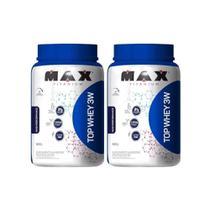 Kit 2x Top Whey Protein 3w Performance Morango 900g - Max Titanium