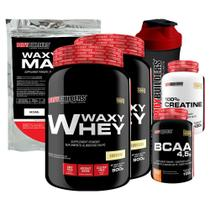 Kit 2x Waxy Whey 900g Bau + BCAA 100g + Creatine 100g + Waxy Maize 800g + Coquet.  Bodybuilders -