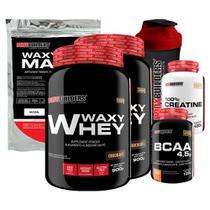 Kit 2x Waxy Whey 900g Cho + BCAA 100g + Creatine 100g + Waxy Maize 800g + Coquet.  Bodybuilders -