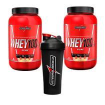 Kit 2x Whey 100% Pure Pote Baunilha 907g + Coqueteleira 1 dose - Integralmedica -
