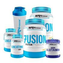 KIT - 2x Whey Fusion 900g BAU + 2x Creatina 100g + 1x Glutamina 250g + 1x Coqueteleira - BRN Foods - BRNFOODS